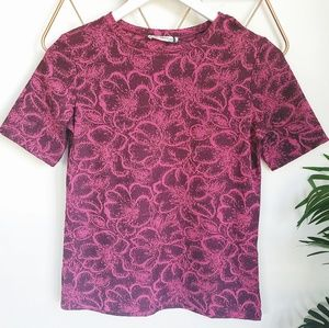 Zara, NWT, Plum Floral Fitted Stretchy Top, M